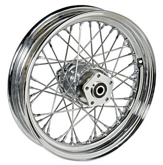 COMPL. CHROME WHEEL 3´ x 16´<br/>40 SPOKES W. DUAL FLANGE HUB&nbsp;&nbsp;