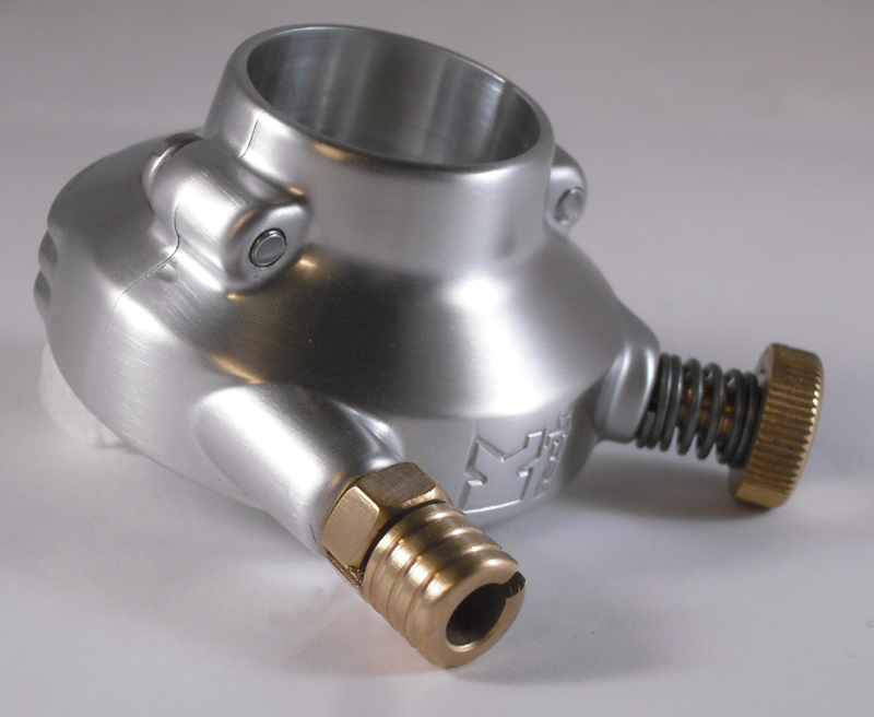 DE LUXE THROTTLE HOUSING, SINGLE CABLE FITS 1&quot;<br/>FROM KUSTOM TECH SATIN FINISH & BRASS&nbsp;&nbsp;