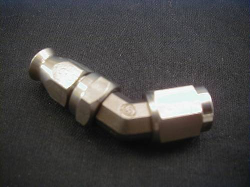 HOSE FITTING 45° TUBE FEMALE<br/>STAINLESS STEEL JIC, 3/8-24 UNF&nbsp;&nbsp;