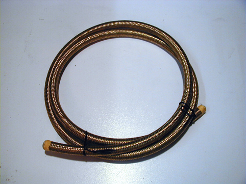 STAINLESS STEEL BRAIDED HOSE<br/>1/4&quot;, GOLD, 6 FOOT LONG, TEFLON&nbsp;&nbsp;