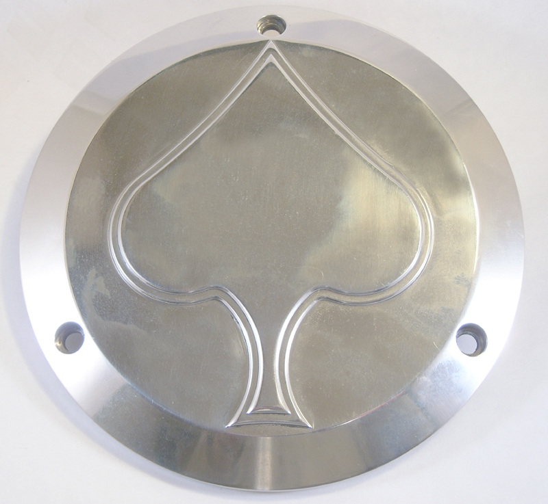 DERBY COVER SPADE DESIGN<br/>CNC BIILET ALUMINIUM POLISHED&nbsp;&nbsp;