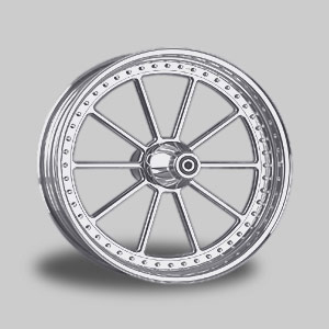 "RICKS 10-SPOKE WHEEL STEVE, POLISHED<br/>8.0""x 18"" SINGLE FLANGE"