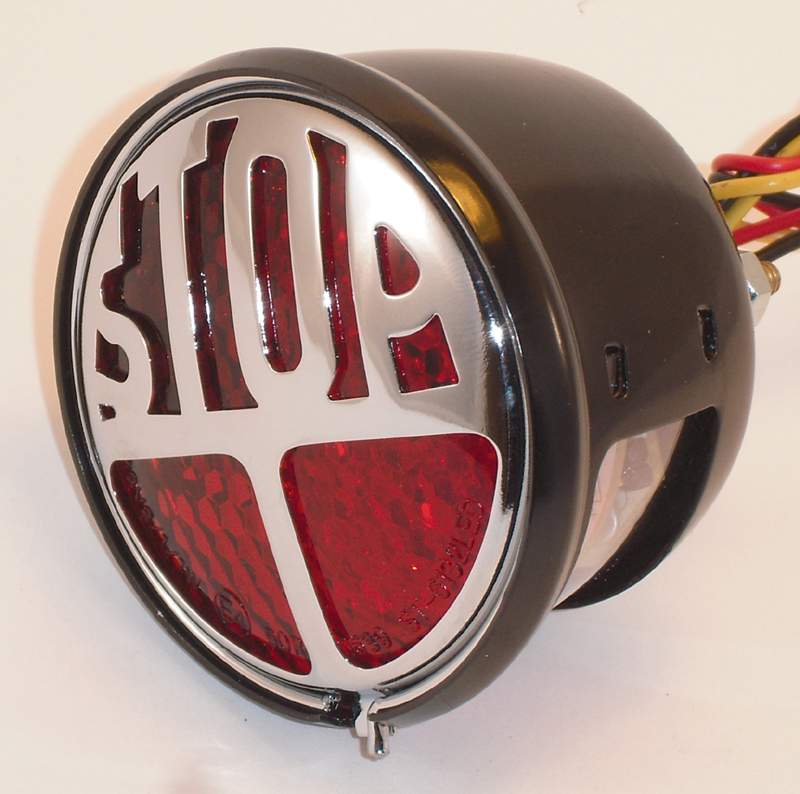 LED STOP TAILLIGHT BLACK HOUSING<br/>RED LENS WITH E-MARK&nbsp;&nbsp;