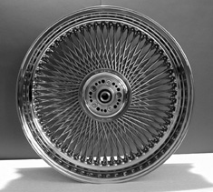 "COMPL.STAINLESS WHEEL 6.5""x 18""<br/>240 SPOKES WITH  DUAL FLANGE HUB FOR EVO"