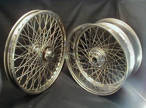 "COMPL. STAINLESS WHEEL 7""x 18""<br/>40 SPOKES WITH  DUAL FLANGE HUB"