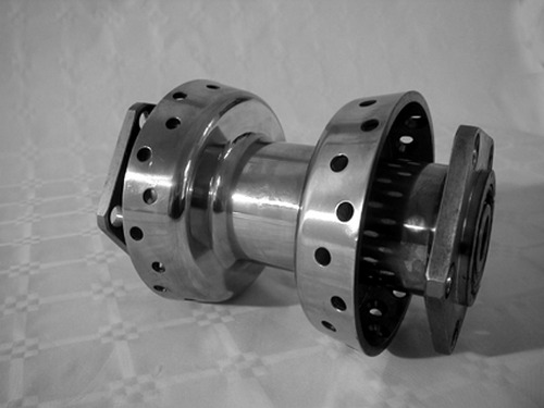 DUAL FLANSCH HUB, STAINLESS STEEL<br/>40 HOLE, WITH 19 mm BEARINGS TWIN CAM SOFTAIL 2000-UP, NOT SPRINGER